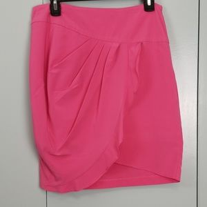 Forever 21 hot pink faux wrap around skirt size L